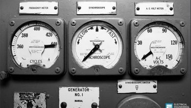 سنکروسکوپ ژنراتور قدیمی برای تطبیق سرعت و زاویه فاز یک ژنراتور قبل از اتصال آن به شبکه برق)